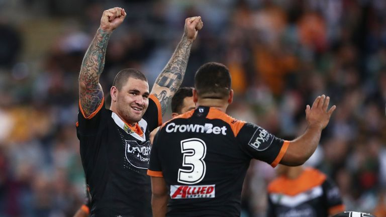 Russell Packer celebrates after West Tigers' win over South Sydney