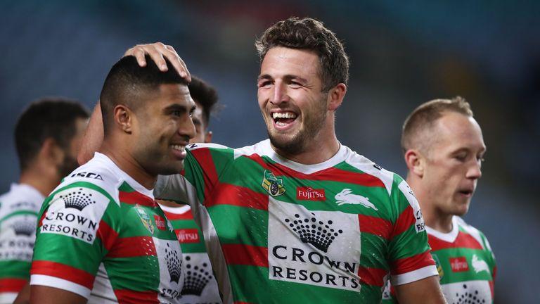 Sam Burgess (L) has high praise for his Rabbitoh's team-mates