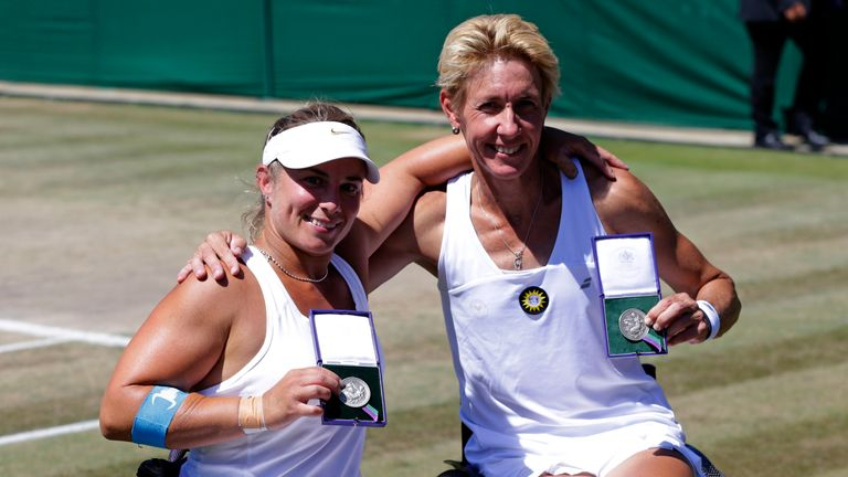 Lucy Shuker (left) was targeting her first Grand Slam title in her fourth Wimbledon doubles final