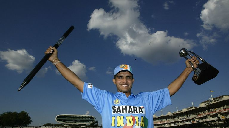Sourav Ganguly finds his shirt and celebrates India's win in the 2002 NatWest Trophy final at Lord's