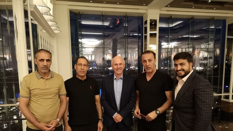Sven Goran Eriksson, pictured with Iraqi FA officials and his representative Saif Rubie (right), has agreed a deal in principle with Iraq