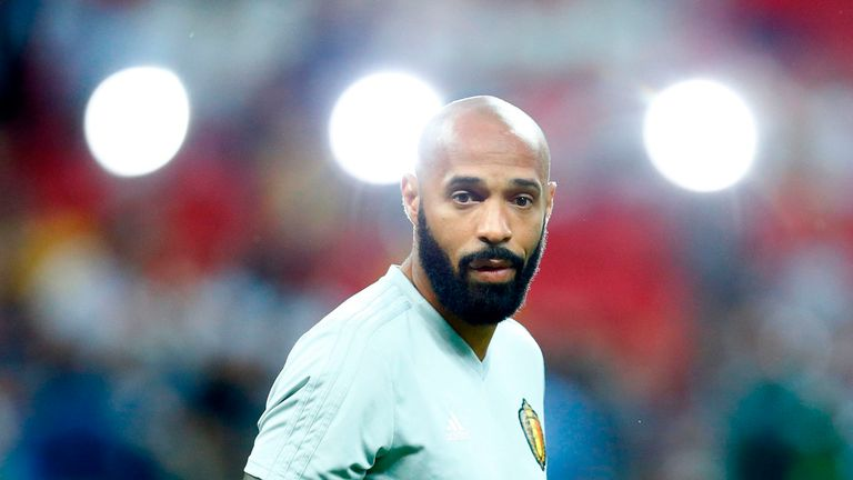 Belgium assistant coach Thierry Henry before the 2018 World Cup quarter-final between Brazil and Belgium at the Kazan Arena on July 6, 2018
