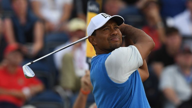 Tiger Woods during the first round of The Open at Carnoustie