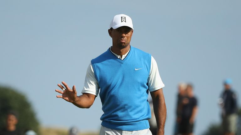 Tiger Woods during the first round of the 147th Open Championship at Carnoustie Golf Club on July 19, 2018 in Carnoustie, Scotland.