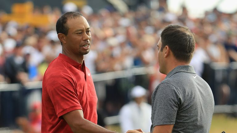 Tiger Woods congratulates Francesco Molinari at Carnoustie