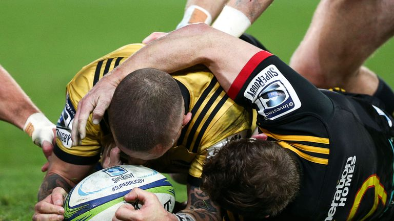 TJ Perenara scored twice against the Chiefs in his side's quarter-final win