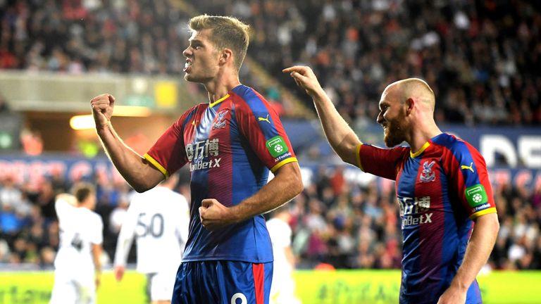 Crystal Palace's Alexander Sorloth celebrates scoring the winner
