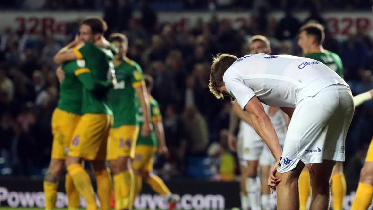 Patrick Bamford shows his dejection after Leeds were beaten by Preston in the Carabao Cup