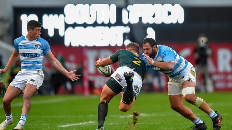 Bok hooker Malcolm Marxis tackled by Argentina's Juan Figallo