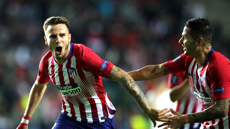 Saul celebrates after restoring Atleti's advantage in extra-time