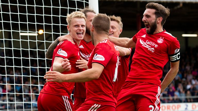 Aberdeen's Gary Mackay Steven celebrates after scoring to make it 1-0