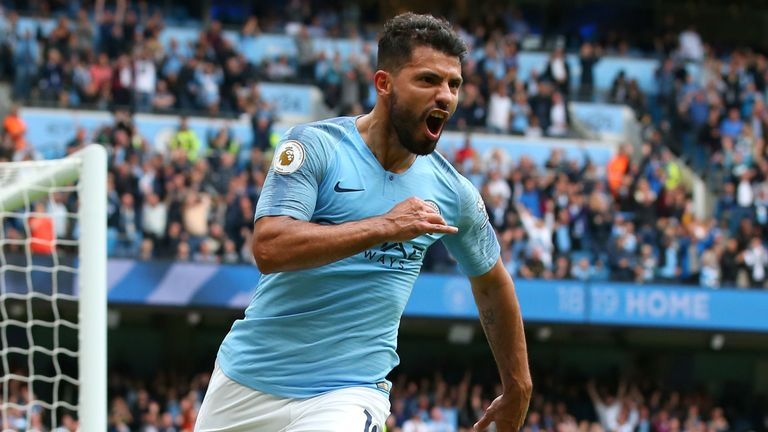 Sergio Aguero of Manchester City celebrates after scoring his team's third goal during the Premier League match between Manchester City and Huddersfield Town at Etihad Stadium on August 19, 2018