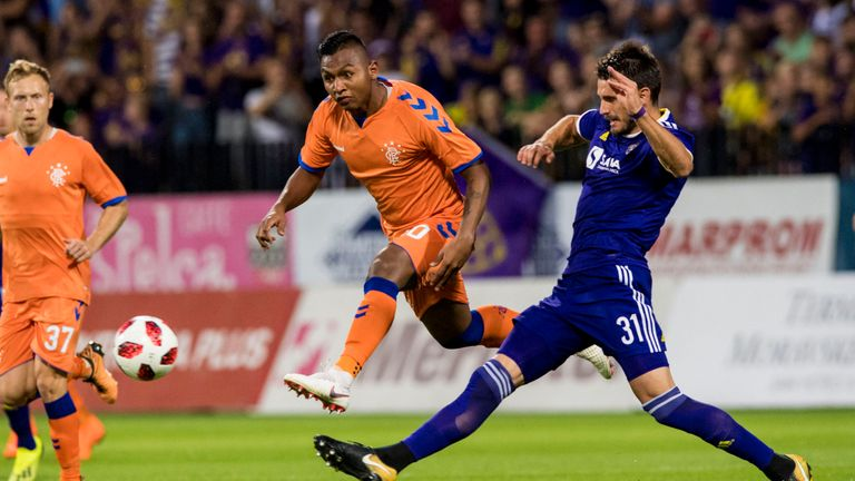 Rangers Alfredo Morelos (left) and S. Ivkovic in action