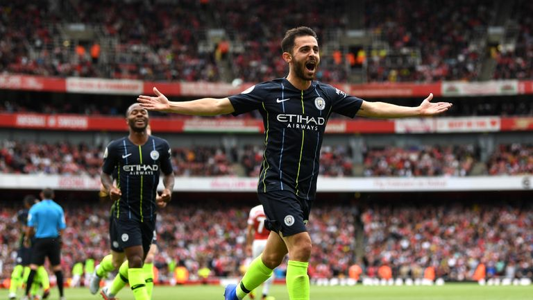 Bernardo Silva celebrates scoring Man City's second goal