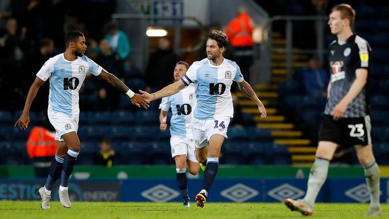 Blackburn Rovers' Charlie Mulgrew (right) celebrates scoring his team's first goal