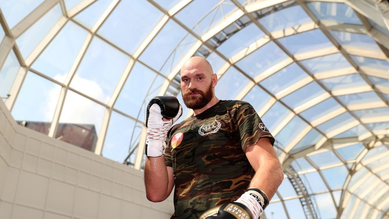 Tyson Fury during a public workout in Belfast