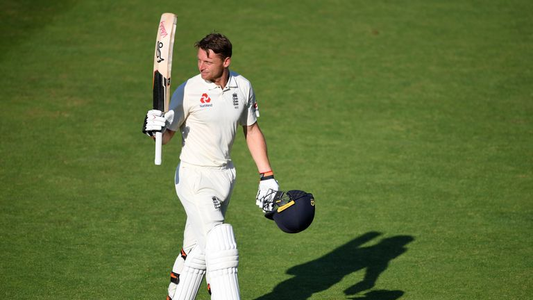 Jos Buttler hit his first Test hundred in a stand of 169 with Ben Stokes