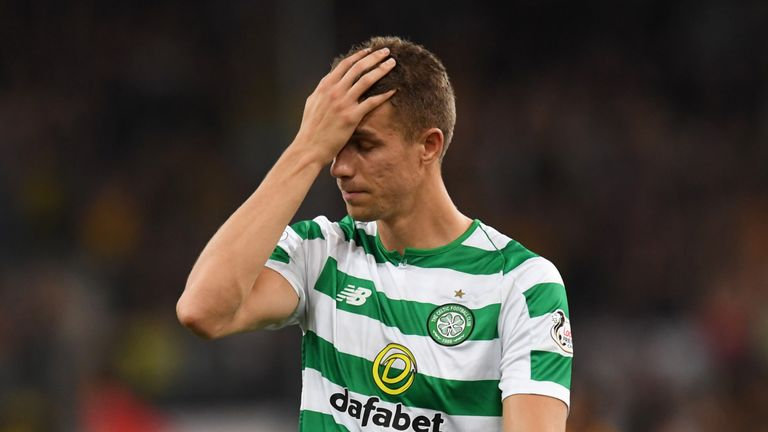 14/08/18 UEFA CHAMPIONS LEAGUE QUALIFYING THIRD ROUND QUALIFIER 2nd LEG. AEK ATHENS v CELTIC . ATHENS - GREECE. Celtic's Jozo Simunovic looks dejected at full time