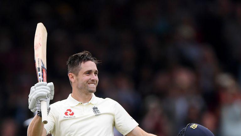 Woakes celebrates his maiden Test century against India last summer