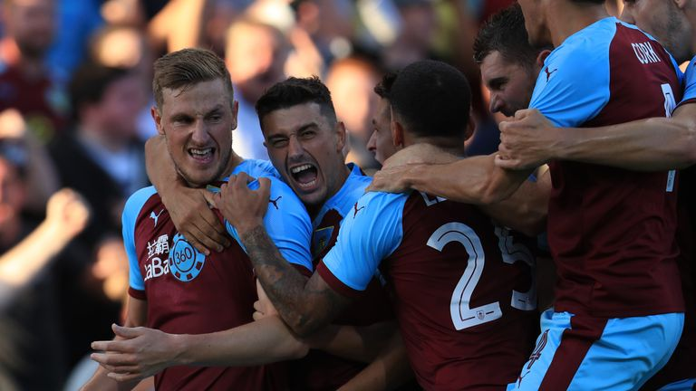Chris Wood celebrates Burnley's opener against Aberdeen at Turf Moor