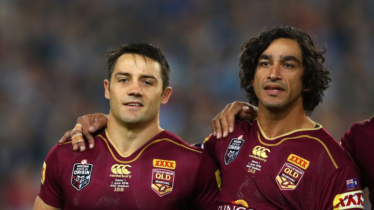 Cooper Cronk and Johnathan Thurston pictured before game one of the State Of Origin series 2016