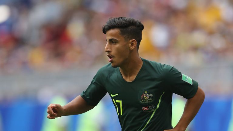 Arzani featured for Australia at the 2018 World Cup