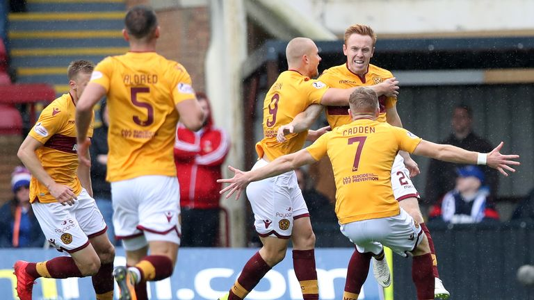 Danny Johnson celebrates putting Motherwell ahead against Rangers on Sunday