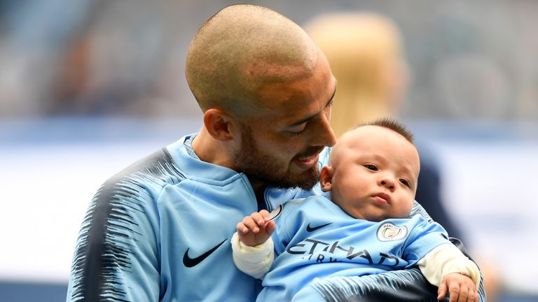 David Silva introduced baby son Mateo to the Manchester City crowd on Sunday