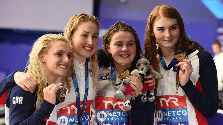 Eleanor Faulkner, Kathryn Greenslade, Holly Hibbott and Freya Anderson celebrate gold