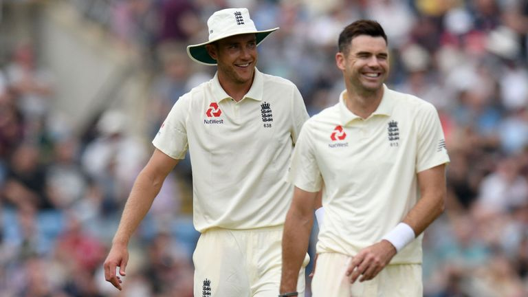 James Anderson and Stuart Broad visualise scenarios before a Test match