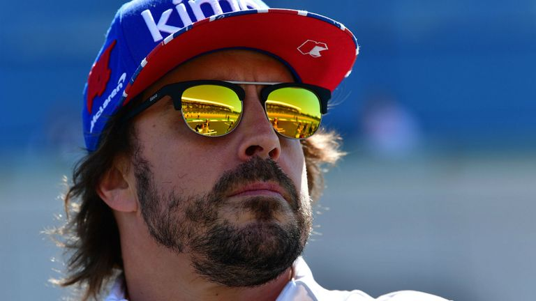 McLaren's Spanish driver Fernando Alonso is pictured in the pit lane ahead of the British Formula One Grand Prix at the Silverstone motor racing circuit in Silverstone, central England, on July 8, 2018.