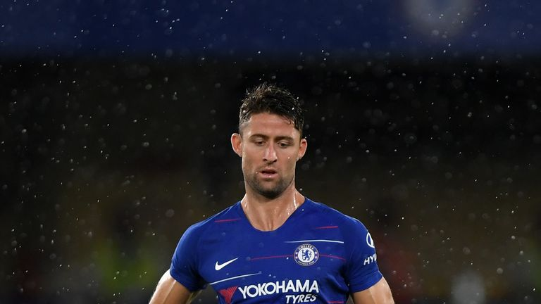 Gary Cahill of Chelsea in action during the pre-season friendly match between Chelsea and Lyon at Stamford Bridge on August 7, 2018 in London, England