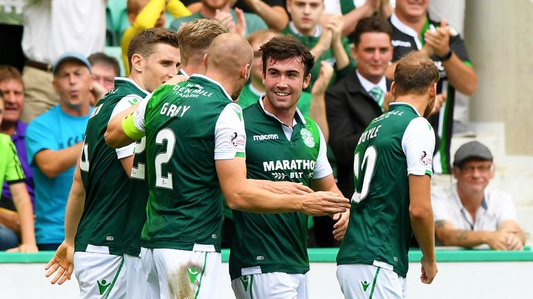 Hibernian's Stevie Mallan celebrates after opening the scoring against Motherwell
