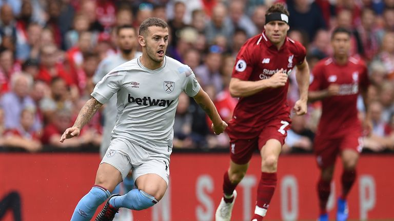 Jack Wilshere started in an attacking midfield role in West Ham's 4-0 loss to Liverpool last week