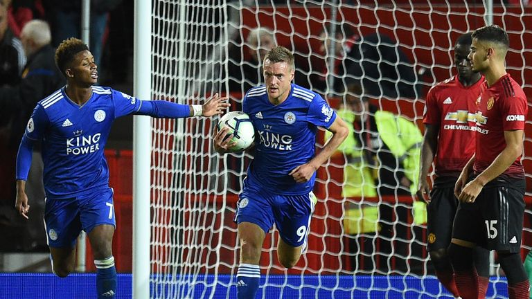 Jamie Vardy scored a late consolation for Leicester against Manchester United