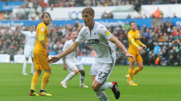 Swansea City's Jay Fulton celebrates scoring the winner against Preston North End
