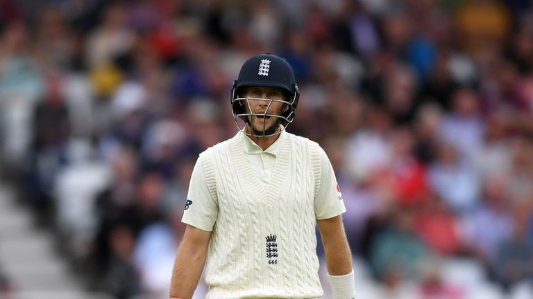 Joe Root left the field shaking his head after being caught at slip