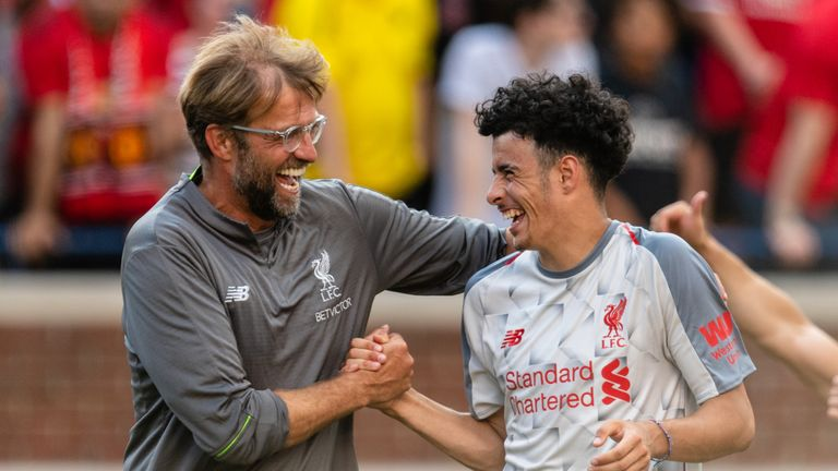 Jurgen Klopp congratulates Curtis Jones during pre-season
