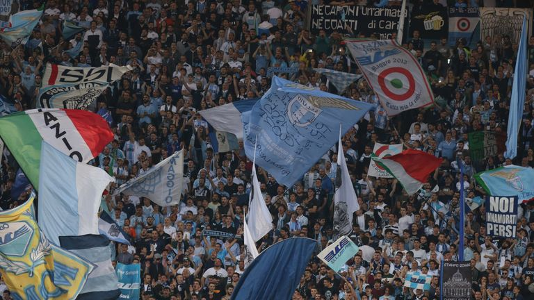 Lazio fans at the Stadio Olimpico