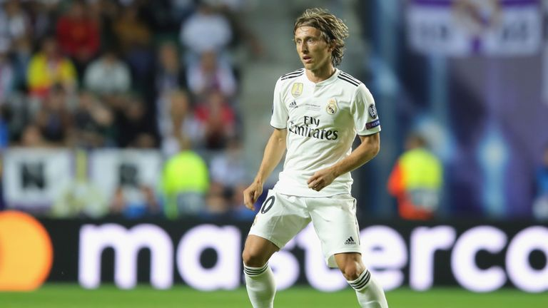 Luka Modric in action during the UEFA Super Cup between Real Madrid and Atletico Madrid at Lillekula Stadium on August 15, 2018