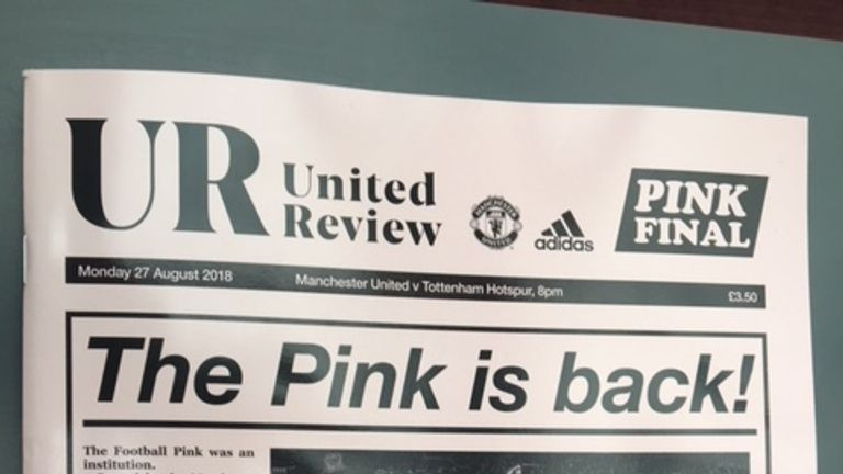 Manchester United's matchday programme confirms a new pink away shirt for this season