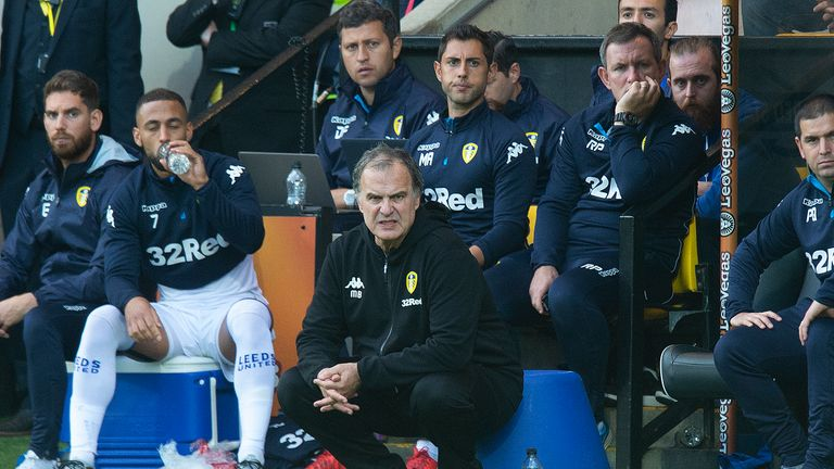 Leeds United manager Marcelo Bielsa is the Sky Bet Championship Manager of the Month for August