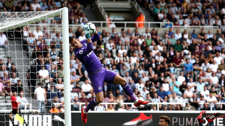 Dubravka, shown here making a save from Tottenham's Dele Alli, has kept four clean sheets for Newcastle this season