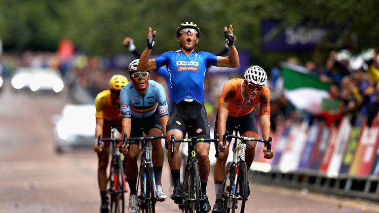 Italy's Matteo Trentin celebrates his win in Glasgow