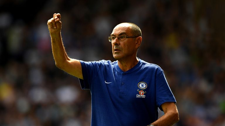 Maurizio Sarri on the touchline at the John Smith's Stadium