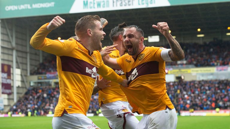 Chris Cadden (left) celebrates the late equaliser against Rangers in the 3-3 draw last month