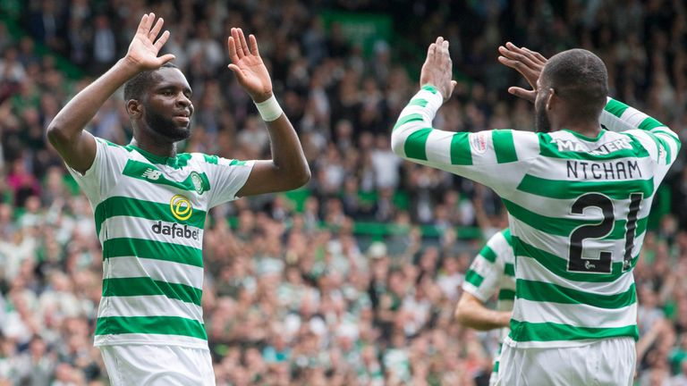 Celtic's Odsonne Edouard celebrates scoring his side's second goal against Livingston