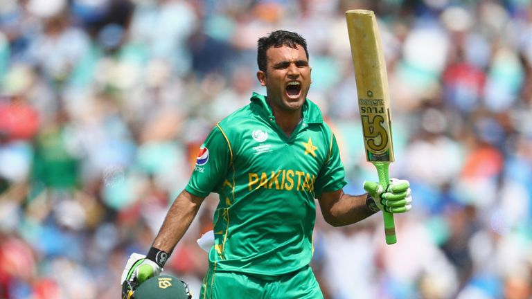 Fakhar celebrates his maiden ODI century against India in the 2017 Champions Trophy final