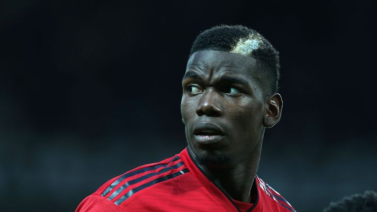 Paul Pogba looks on at Old Trafford on Monday night