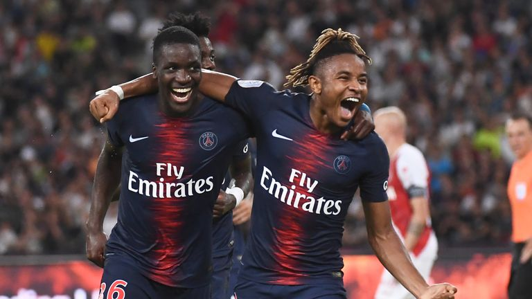 Christopher Nkunku (R) celebrates with Stanley Pierre N'Soki